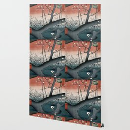 botanical ukiyo-e painting nature garden spring japanese plum flower Wallpaper