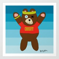 crossfit Art Prints featuring Crossfit Bear  by Gabriel J Galvan