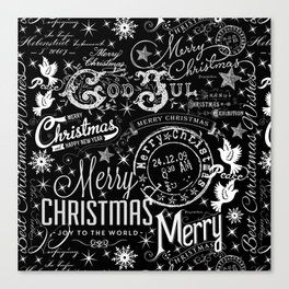 Black and White Christmas Typography Design Canvas Print