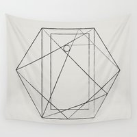 hexagon Wall Tapestries featuring geometric hexagon by Chris