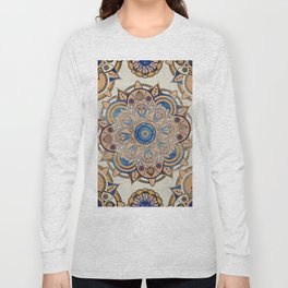 Blue and Gold Mandala Long Sleeve T-shirt