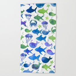 Blue Green Watercolor Fish Pattern Beach Towel