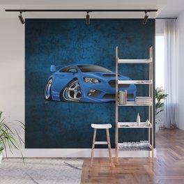 Import Sports Sedan Cartoon Illustration Wall Mural