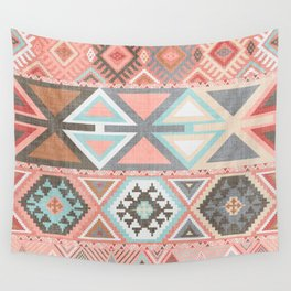 Aztec Artisan Tribal in Pink Wall Tapestry