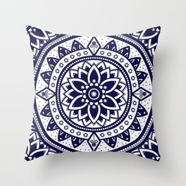 Mandala Blue Spiritual Zen Bohemian Hippie Yoga Mantra Meditation Throw Pillow