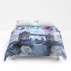 London Tower Bridge mixed media Art and Typography Comforters