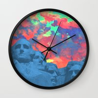 rushmore Wall Clocks featuring Mt Rushmore by Cale potts Art
