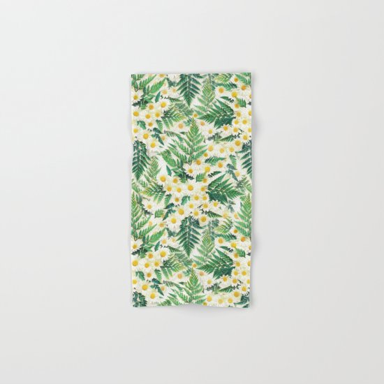 Textured Vintage Daisy and Fern Pattern  Hand & Bath Towel