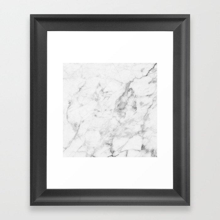 White Marble Gerahmter Kunstdruck
