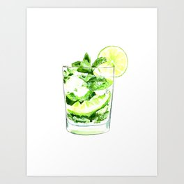Cocktails. Mojito. Watercolor Painting. Art Print