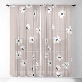 Little messy daisy garden fall botanicals Latte beige Sheer Curtain