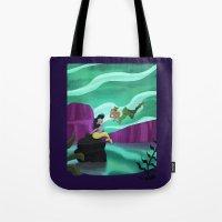 peter pan Tote Bags featuring Peter Pan by enosay