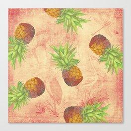 Retro Vintage Pineapple with Grunge Animals Background Canvas Print