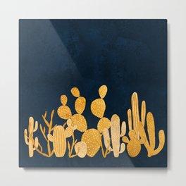 Golden cactus garden Metal Print