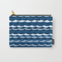Classic Blue Wave Pattern Carry-All Pouch