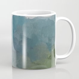 Gray Blue Navy Indigo Sage Leafy Green Sky Forest Abstract Painting, Modern Wall Art, Portrait Coffee Mug