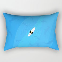 Shark Beach | Aerial Illustration Rectangular Pillow