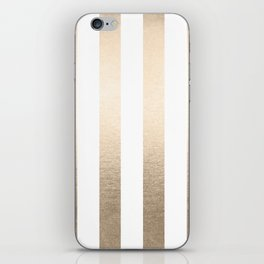 Simply Vertical Stripes in White Gold Sands iPhone Skin