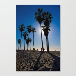 Sun on palm tree Canvas Print