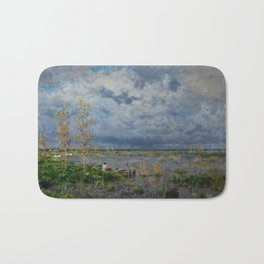 Boat amid the lilies (Pêche_aux_anguilles) by Isidore Verheyden Bath Mat