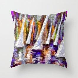 Sails To-Night Throw Pillow