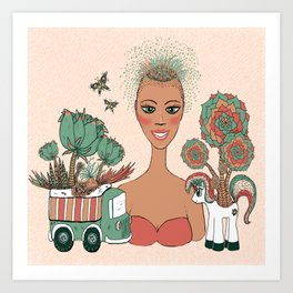 succulents planted in toys Art Print