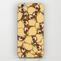 taco iPhone & iPod Skins featuring Puglie Taco by Puglie Pug