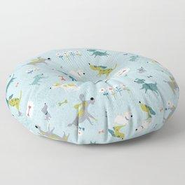 Blue Dog Pattern Floor Pillow
