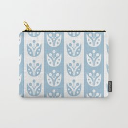Mid Century Modern Flower Stripes Pattern Pale Blue Carry-All Pouch