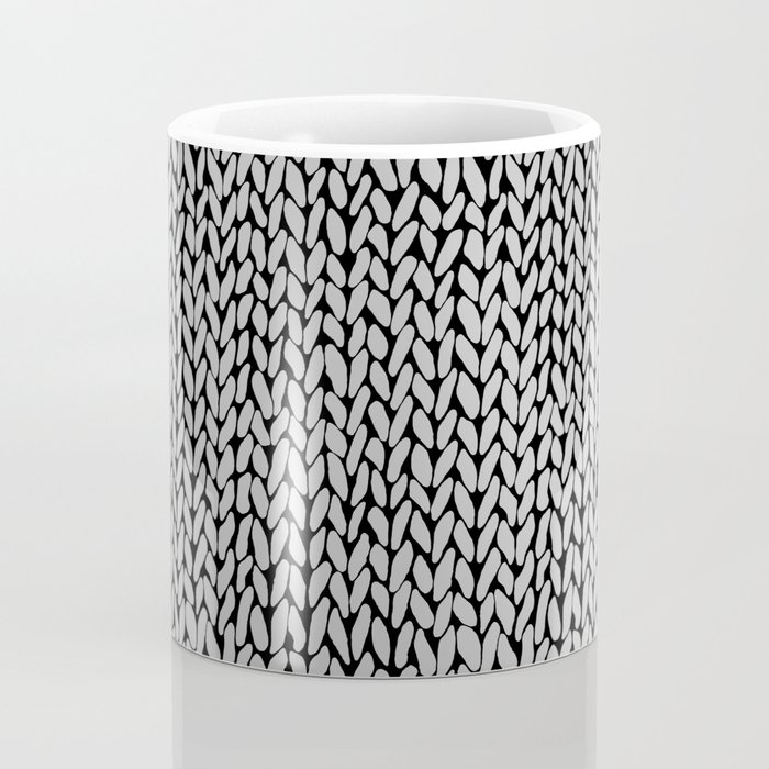 Hand Knit Grey Black Coffee Mug