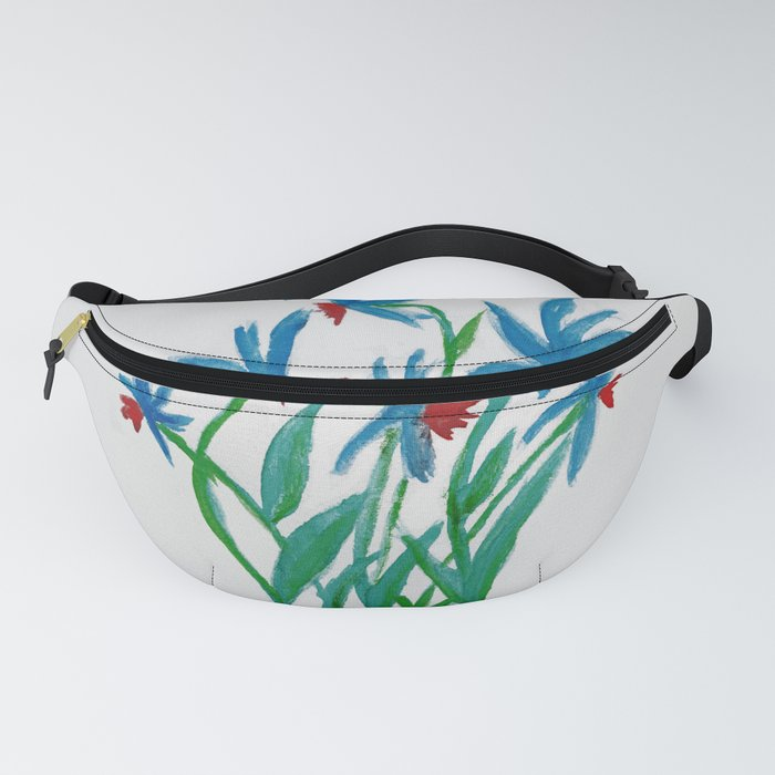Hand painted watercolor floral blue and red flowers Fanny Pack