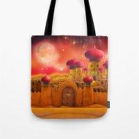 aladdin Tote Bags featuring Aladdin castle by Tatyana Adzhaliyska