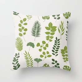 Tropical Leaf and Herb Pattern Throw Pillow