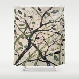 Black and Green Olives Shower Curtain