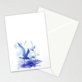 Watercolor sea ocean waves seascape with realistic birds, gulls, abstract water. Realism. Art. Stationery Cards