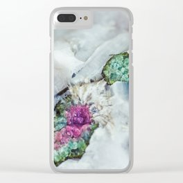 Colorful watermelon tourmaline crystal, macro #society6 Clear iPhone Case