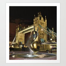 Tower Bridge with the Girl and a Dolphin Fountain, London. Art Print