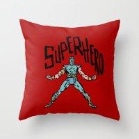 superhero Throw Pillows featuring SuperHero by Logan_J