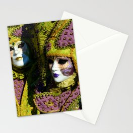 Glamorous Couple With Carnival Costumes Stationery Cards