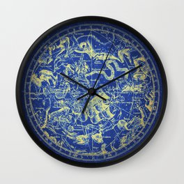 Yellow on Blue Infinity Vintage Astrology Star Map Wall Clock