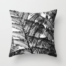 Black and White Fern Silhouette Pattern Throw Pillow