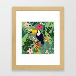 Summer tropical background. Toucan  bird with palm leaves. Framed Art Print