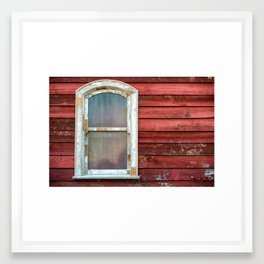 Old widow frame with dirty glass on red wooden house wall Framed Art Print