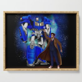 10th Doctor who with Giant retro Robot Phone Box Serving Tray