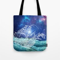 neverland Tote Bags featuring To Neverland by Cat Milchard