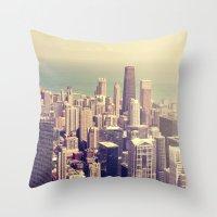 metropolis Throw Pillows featuring Metropolis by farsidian