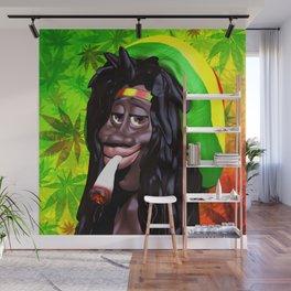 Rastaman Marijuana Caricature 3d Wall Mural