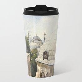 Istanbul: Blue mosque from a window of Hagia Sophia. Travel Mug