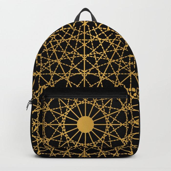 Geometric Circle Black and Gold Backpack
