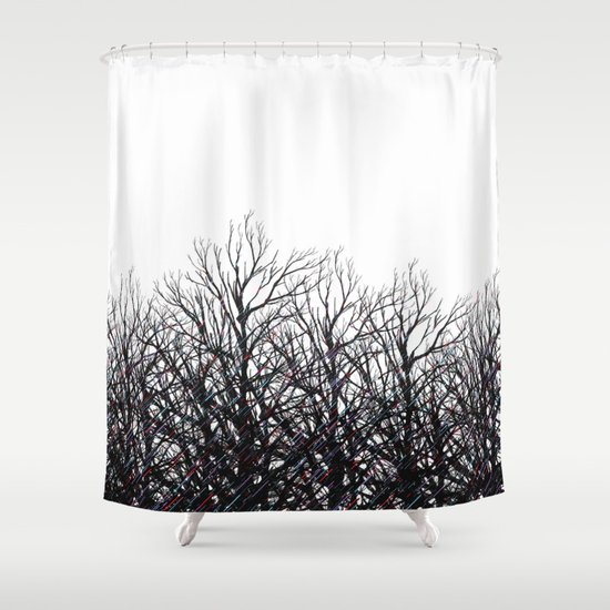 Black Tree Branches Shower Curtain